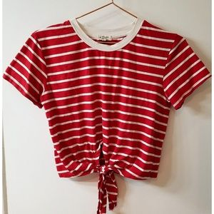 Striped retro crop tie front knot short sleeve top